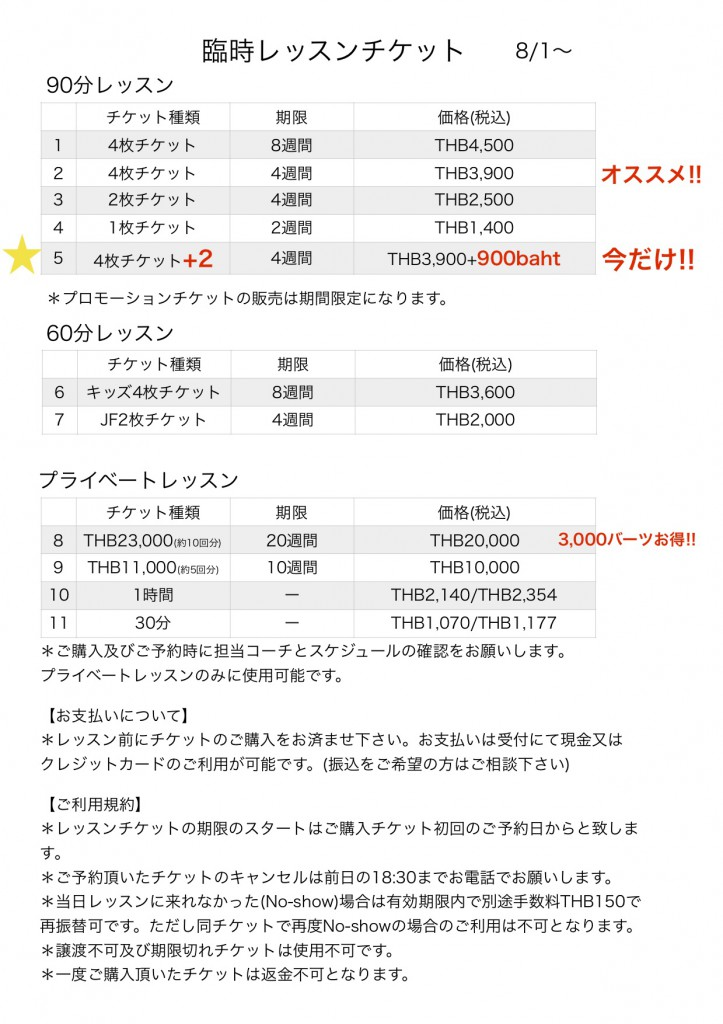チケット価格 20200801