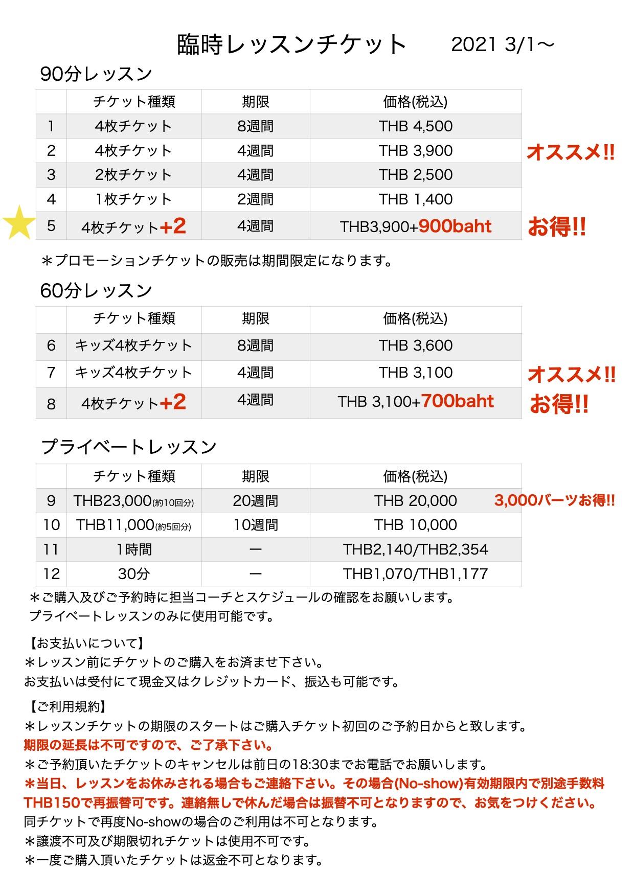 チケット価格 20210301