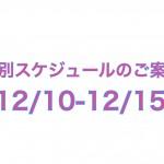 12/10-12/15の特別スケジュールのご案内